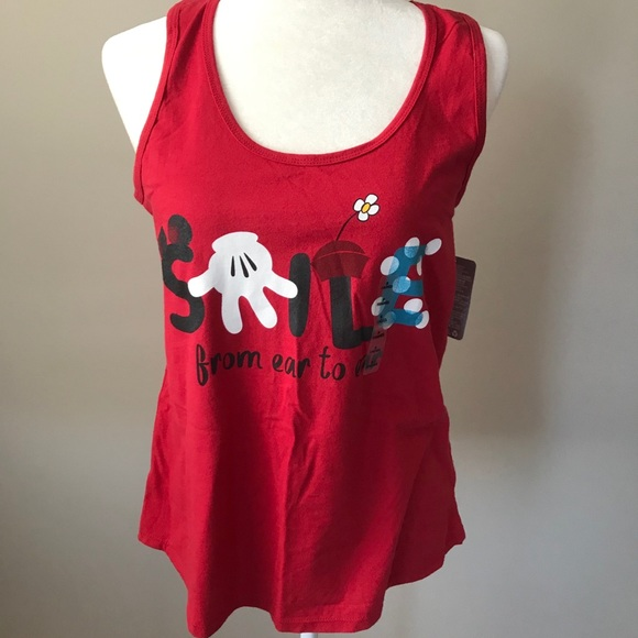 🔥2/$20 Disney Minnie Mouse Smile Tank Red NWT